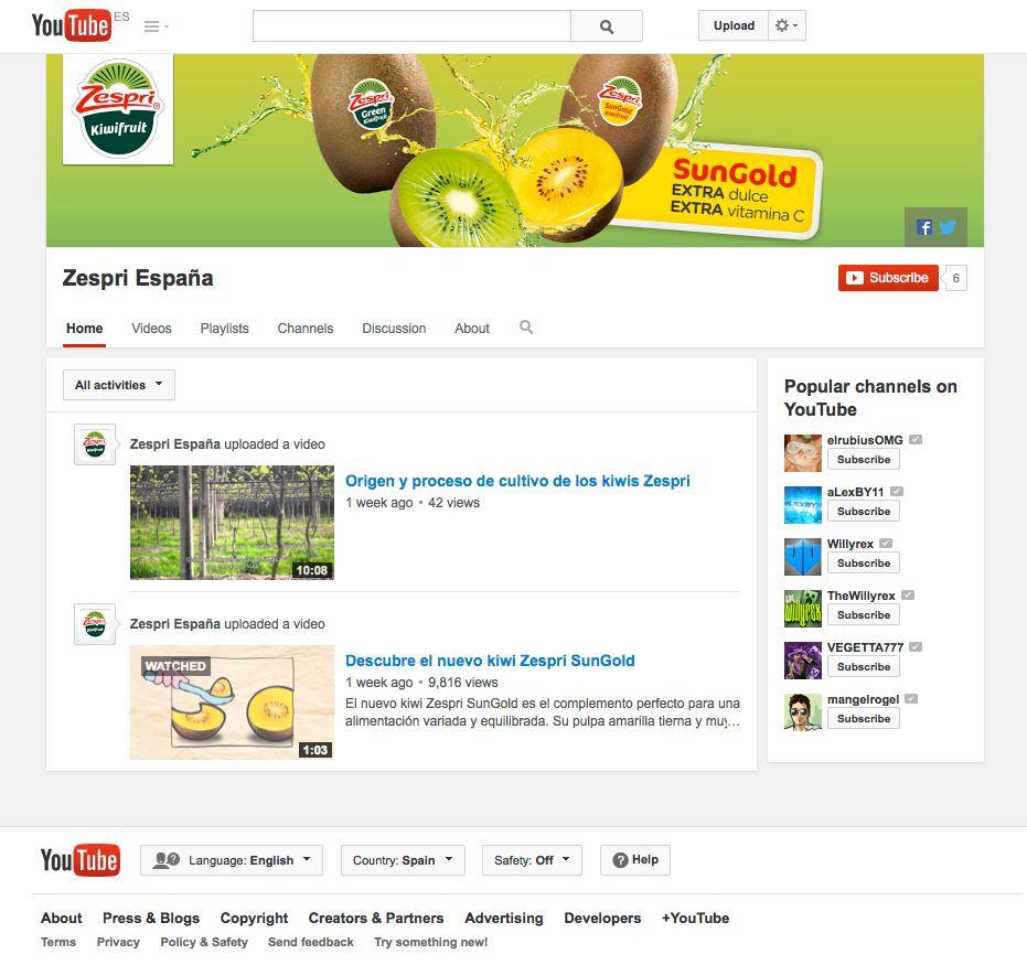 Aspecto del canal nuevo YouTube de Zespri
