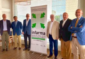 De izquierda a derecha: Josep Gavaldà, gerente del COFB; Luis J. González, presidente del COFM; Jordi de Dalmases, presidente del COFB; Carlos Ibáñez, director general del COFM; Daniel Sarto, director general de Interalia; y Jorge Arqué