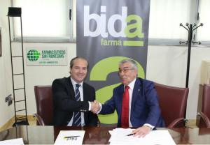 El vicepresidente de BIDAfarma, Antonio Pérez Ostos y el presidente de FSFE, Rafael Martínez Montes