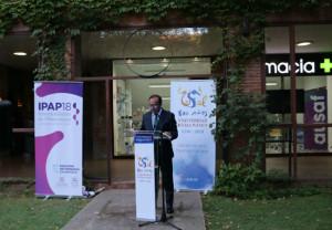 Eduardo Pastor, durante la Inauguración del Aula de Farmacia