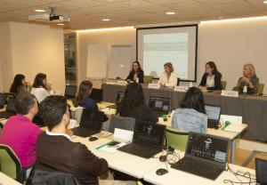 De izquierda a derecha, Aina Surroca, Núria Bosch, Marta Alcalde y Eulàlia Mateu, durante la inauguración del Programa Dermoexpert