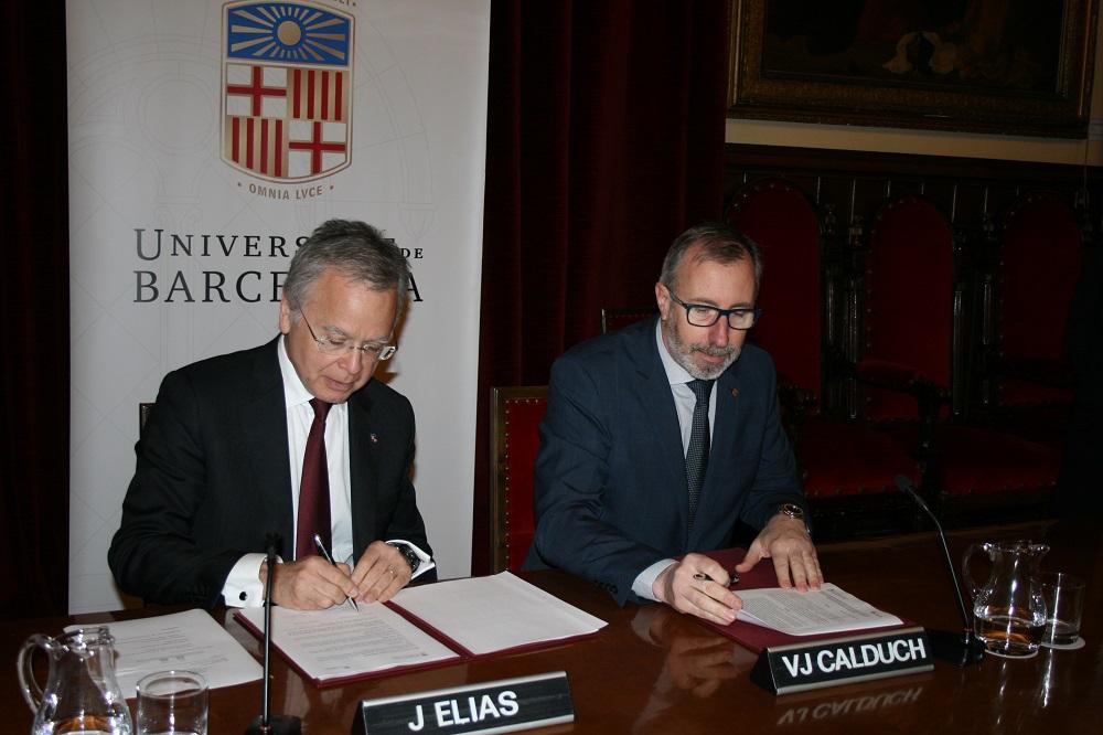 el presidente de fedefarma, Vicenç J. Calduch, y el rector de la Universitat de Barcelona, Dr. Joan Elias
