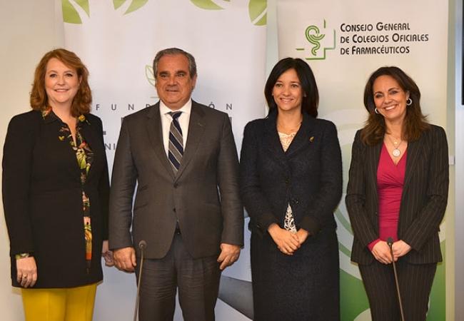 Foto de familia de la presentación de la campaña por la ELA, con Jesús Aguilar, Ana López-Casero, María Jesús Arregui y xxx