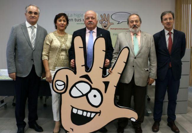 De izquierda a derecha, Antonio Migorance (presidente del CACOF), María Luisa Tarilonte (representante del CACOD), Jesús Aguirre, Alfonso Carmona (vicepresidente del CACM), y José Miguel Cisneros (director del programa PIRASOA).