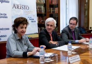 María Luisa Alarcón, vocal de SEFAR en Madrid;  Juan José Jiménez, director general de Aristo Pharma Iberia; Ángel Huélamo, director de Farmacéuticos sin Fronteras (FSFE)