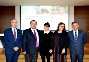 Inauguración de OncofarmaCOFM. De izquierda a derecha: Juan Jorge Poveda Álvarez, Marcos Martínez, Rosalía Gozalo Corral, Isabel Castillejo Pérez y Luis González Díez