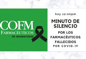 Urgente: minuto de silencio a las 12:00 por los farmacéuticos fallecidos