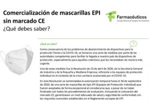 Comercialización de mascarillas EPI sin marcado CE