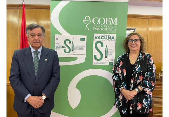 Luis González, presidente del COFM, y Susana Belmonte, vocal de Salud Pública del COFM